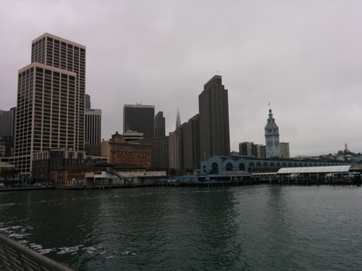 The Ferry Building and a bit of the San Francisco skyline, as seen from the end of Pier 14